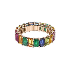 Gold Emerald Ruby Sapphire Rainbow Eternity Band by Shay for Broken English Jewlery