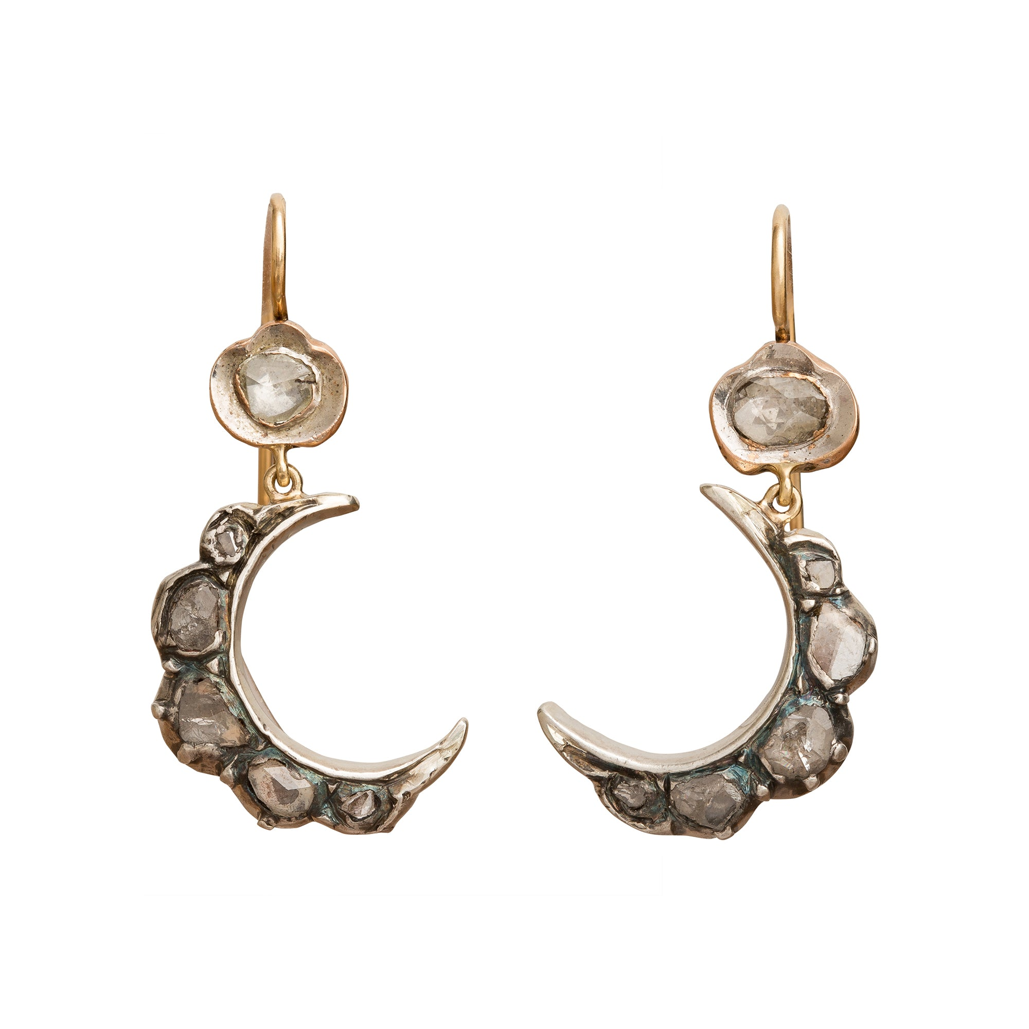 Silver Crescent Moon Earrings by Vintage Jewelry for Broken English Jewelry