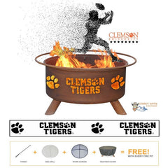 Clemson Tigers Steel Fire Patina College Fire Pit
