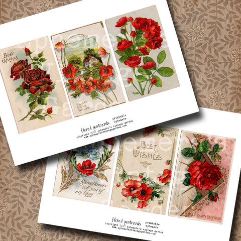 Flower Postcards - Red #1
