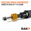 RAK Precision Torque Screwdriver Set with 1/4-Inch Hex Drive - Extremely Accurate 1 Inch-Lb (0.11 Nm) Increment Torque Screw Driver with 10 to 50 Inch-Pound (1.13 to 5.65 Nm) Range - RAK Pro Tools