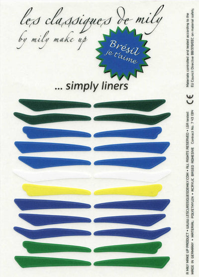 No.21 </br> Stick on eyeliners </br> Brazilian colors - 4 shapes