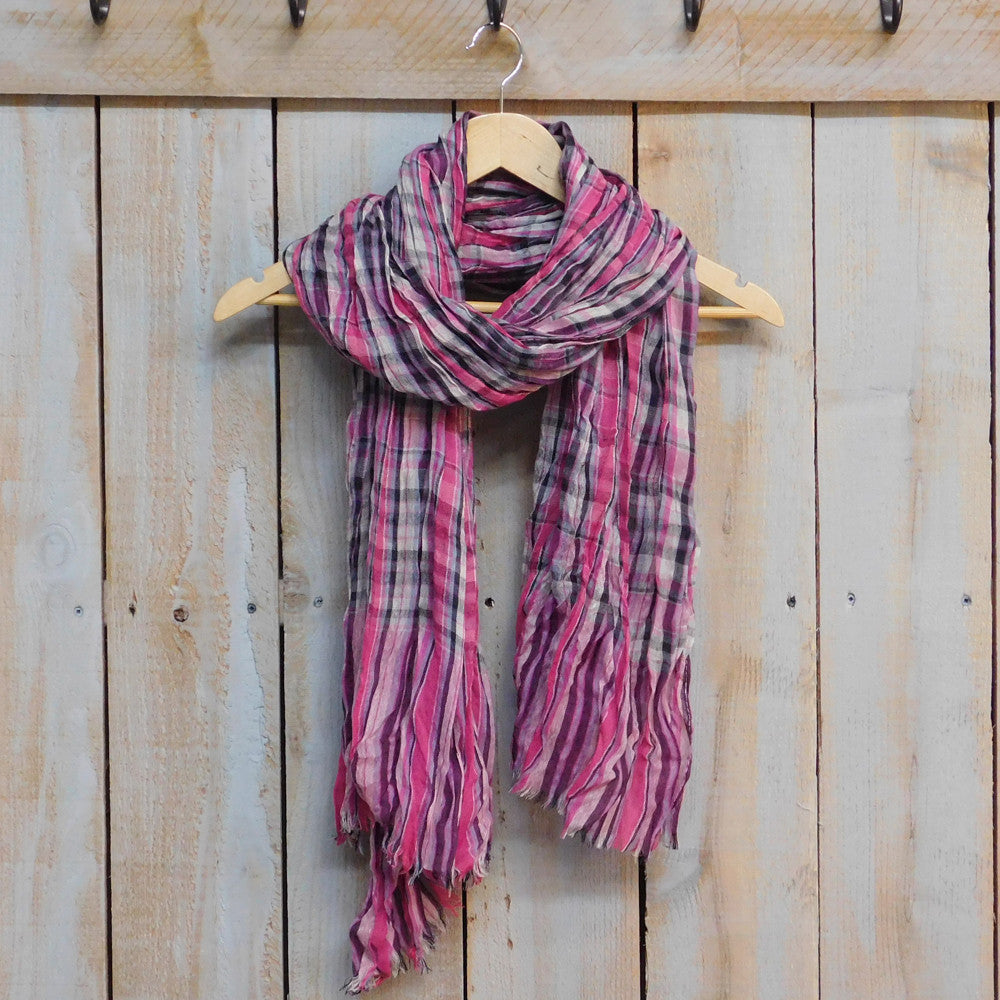 Tickled Pink - Feather Fringe Plaid Scarf - Pink - Quail Hollow Tack
