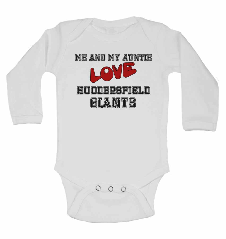 Me and My Auntie Love Huddersfield Giants - Long Sleeve Baby Vests for Boys & Girls