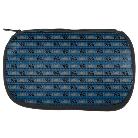 Grizzly Bear Adirondack Pattern Blue Makeup Bag