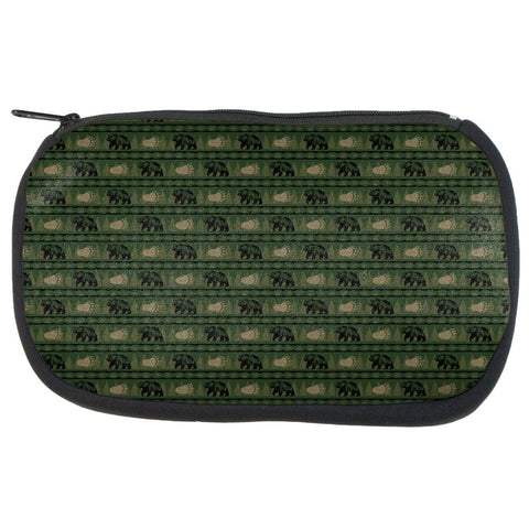Grizzly Bear Adirondack Pattern Green Makeup Bag