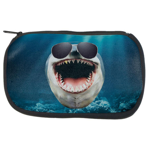 Big Goofy Shark In Sunglasses Makeup Bag
