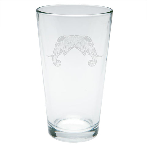 Tribal Mosaic Elephant Etched Pint Glass
