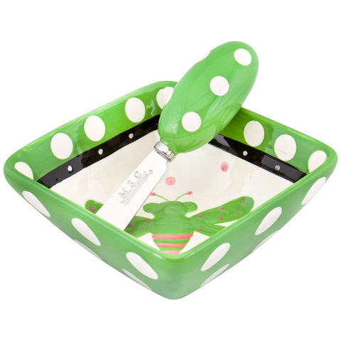 Bee Flying Polkadot Square Dip Bowl With Matching Spreader