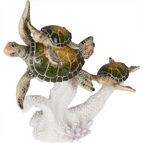 Family of Sea Turtles Swimming Figurine