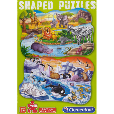 Cute Animals Shaped 60-Piece Puzzle 2-Pack