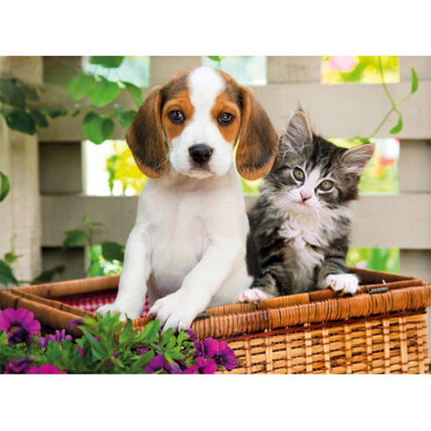 Dog and Cat in Basket 1000-Piece Puzzle