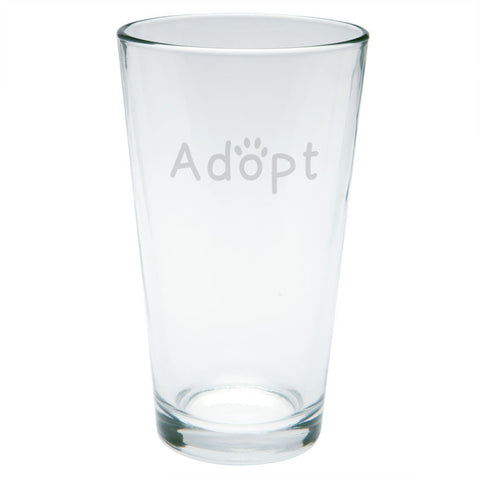 Adopt Cat Dog Paw Etched Pint Glass