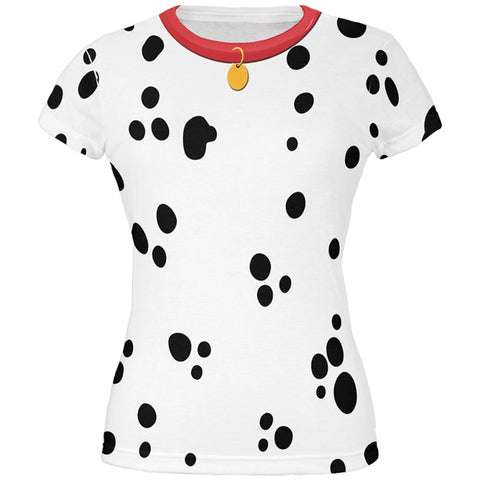 Dog Dalmatian Costume Red Collar All Over Juniors T-Shirt