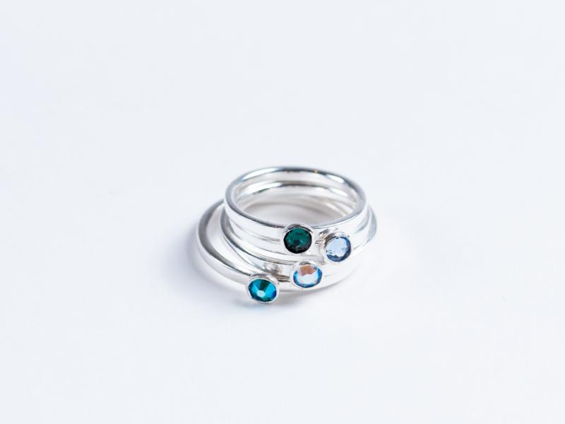 Stacking Rings // Silver Rings with Crystals