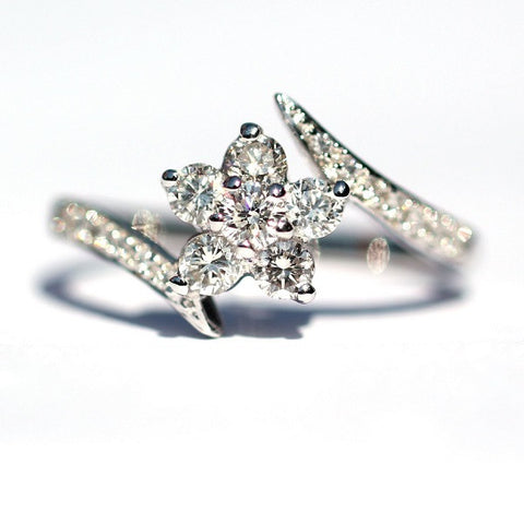 Clementine Petal White Diamond Ring - Exclusive Diamond Co