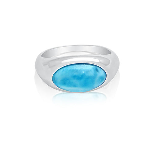 Harlow Simplistic Oval Larimar Ring - Exclusive Diamond Co