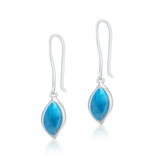 Harlow Simplistic Oval Larimar Earrings - Exclusive Diamond Co