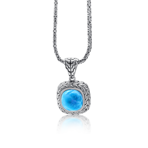 Leanna Patterned Larimar Pendant - Exclusive Diamond Co