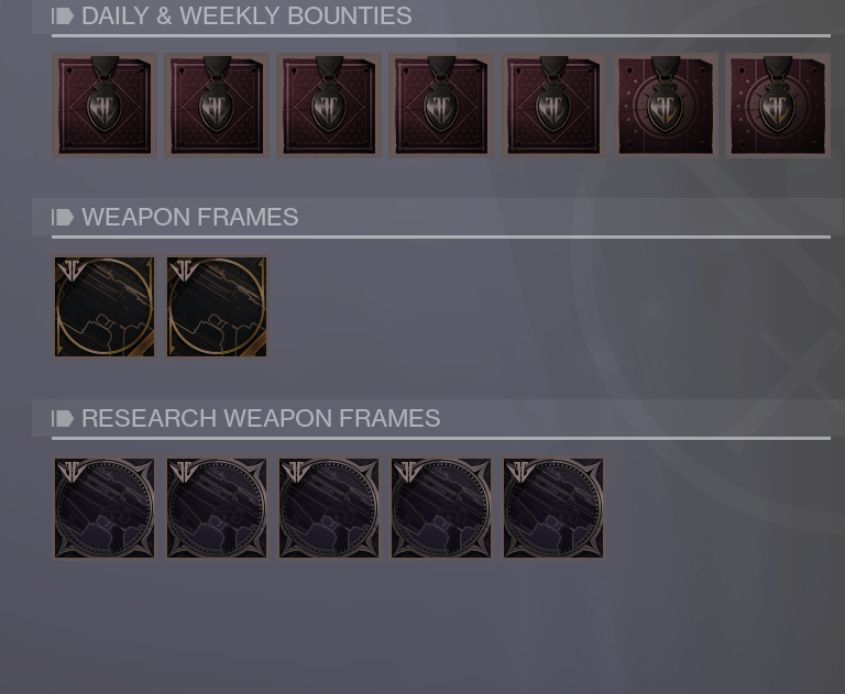 Black Armory Bounties and Weapon Frames
