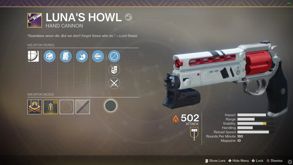 "Legendary Hand Cannon - ""Luna's Howl"""