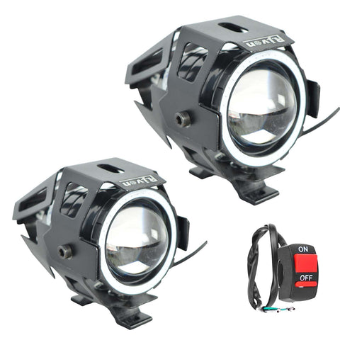 R.J.VON U 7  Bike Fog Light (Set of 3 Focus White Ring Blue ,20 W)