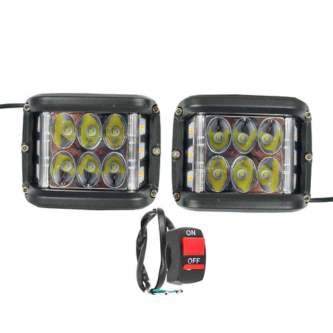 R.J.VON -6 Led Fog Light With Side Red Flashing 15 W (Pack of 3 Pcs)