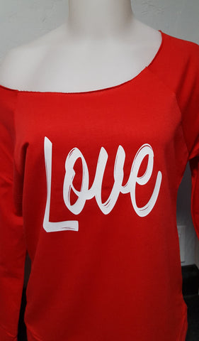 Love -Valentine's Day Women's Fray Neck Raglan