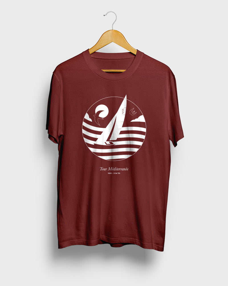 Mediterranean Tour 4.20, Tel Aviv Series | Burgundy Red Unisex T-Shirt