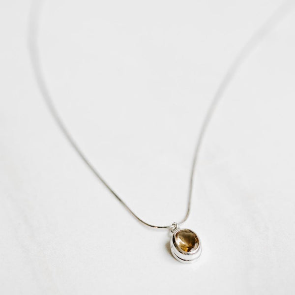 Citrine Pendant Silver Necklace - Handmade in 925 Sterling Silver by Manipura