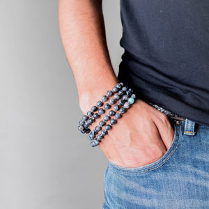 Flower of Life Man Gemstone Mala with Labradorite on a wrist, Manipura - Handmade in Amsterdam
