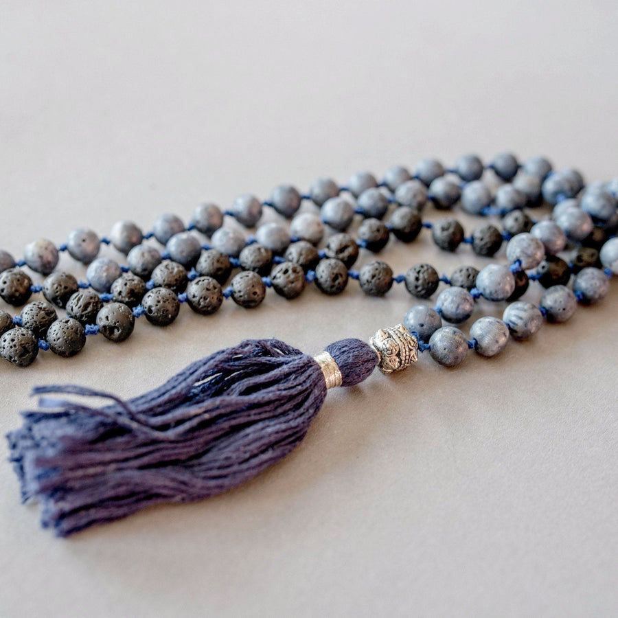Blue Coral and Black Lava Man Gemstone Mala, Manipura - Handmade in Amsterdam