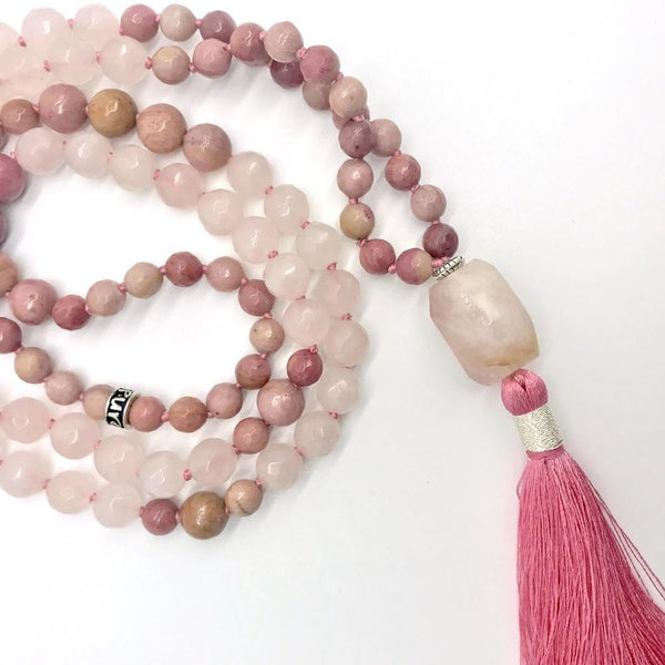 Rose Quartz and Rhodonite Gemstone Mala, Manipura Mala - Handmade in Amsterdam