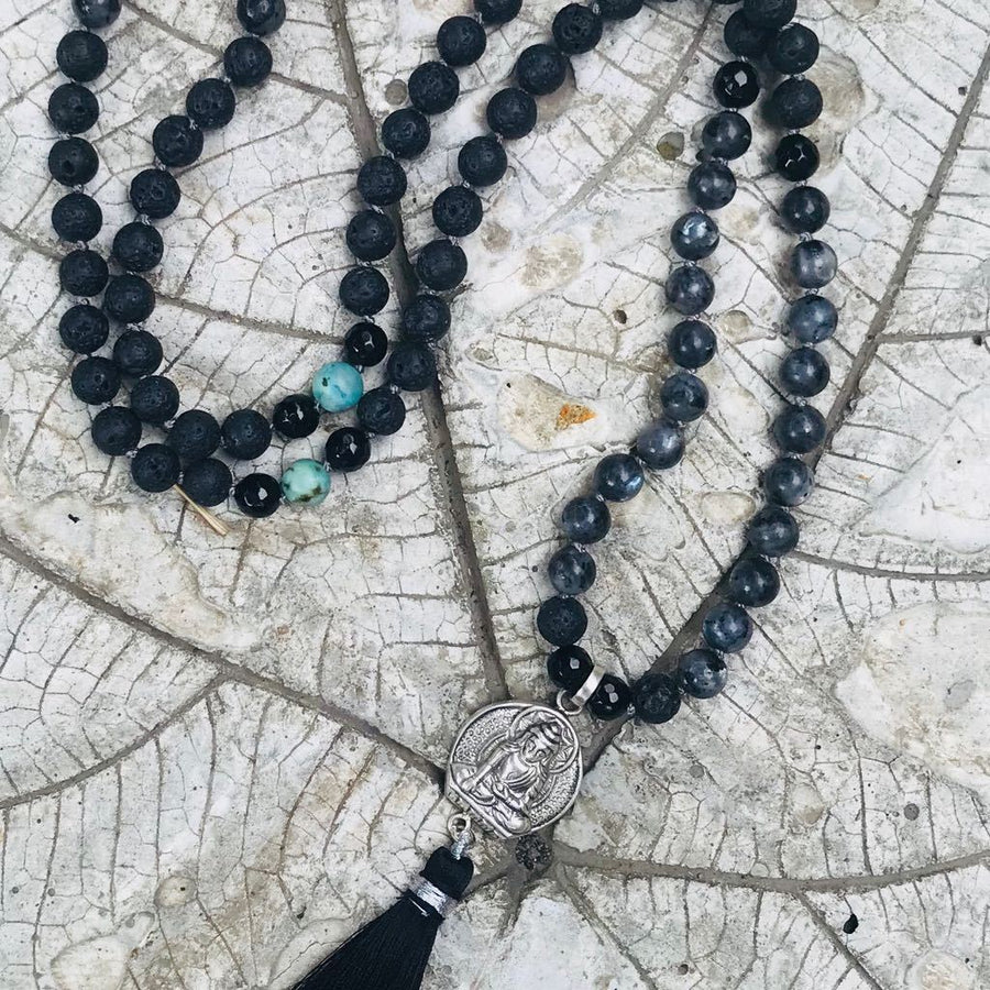 Gemstone Mala Black Onyx and Labradorite with Buddha silver pendant, Handmade in Amsterdam