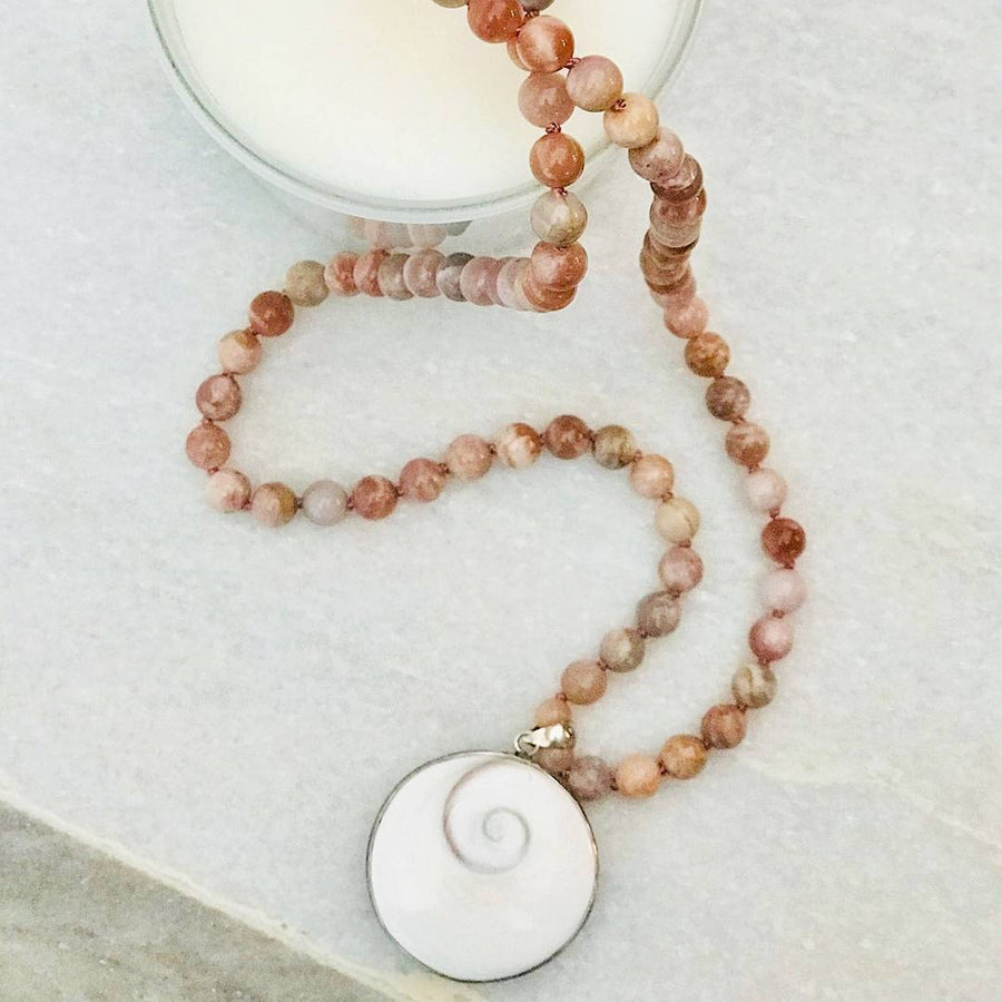 Shive Eye Pendant with Peach Moonstone beads Gemstone Mala, Manipura - Handmade in Amsterdam
