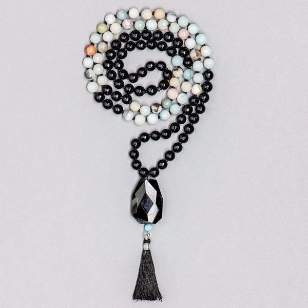 Amazonite and Black Onyx Gemstone Mala, Manipura - Handmade in Amsterdam