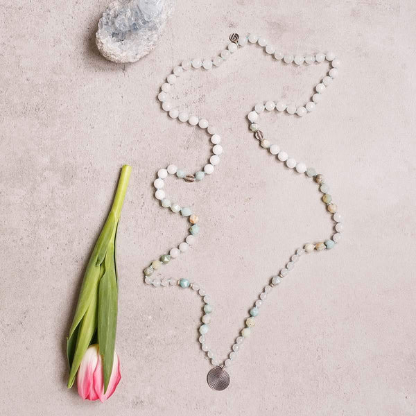 White Jade and Amazonite Gemstone Mala, Manipura - Handmade in Amsterdam