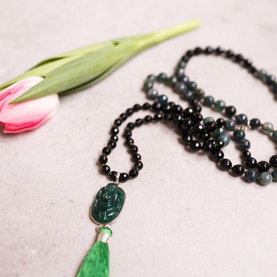 Black Onyx and Green Indian Agate Gemstone Mala, Manipura - Handmade in Amsterdam