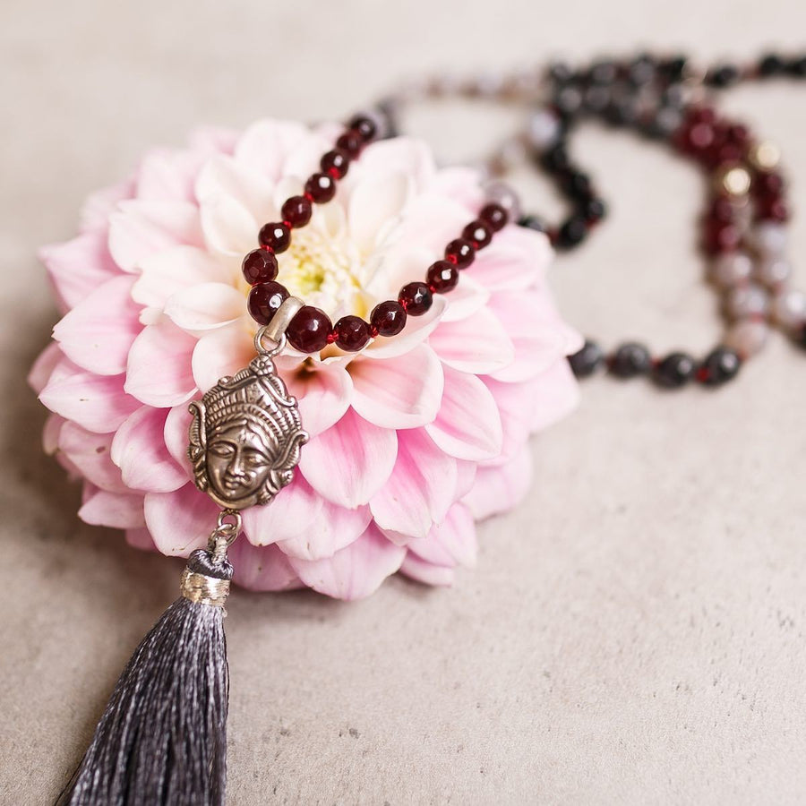 Pendant Goddess Kali with Garnet, Grey Agate and Labradorite beads Gemstone Mala by Manipura