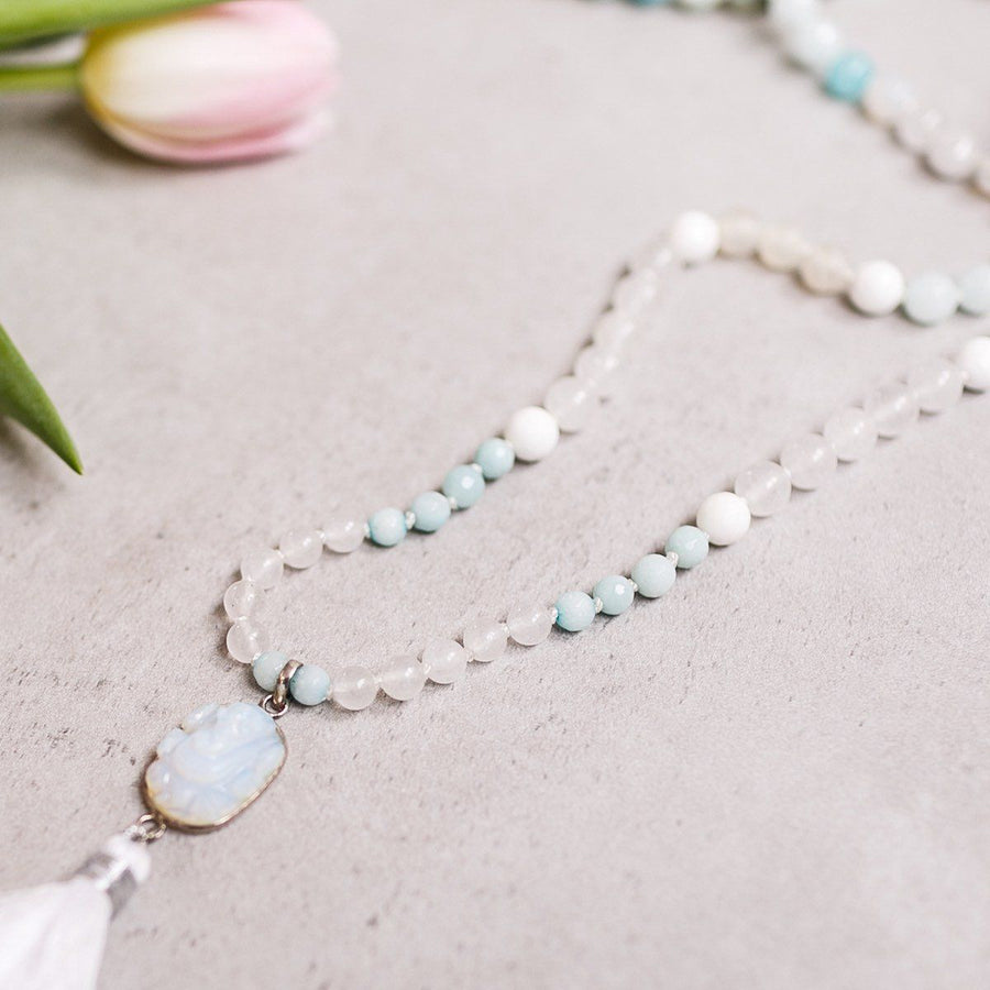 Moonstone, White Jade and Amazonite Gemstone Mala, Manipura - Handmade in Amsterdam