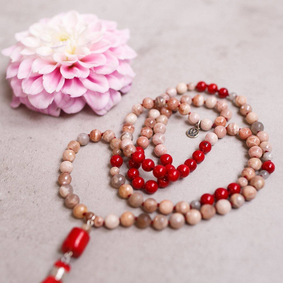 Peach Moonstone and Red Coral Gemstone Mala, Manipura - Handmade in Amsterdam