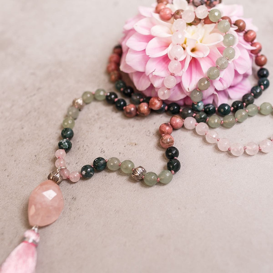 Rose Quartz, Rhodonite and Green Jade Gemstone Mala, Manipura - Handmade in Amsterdam