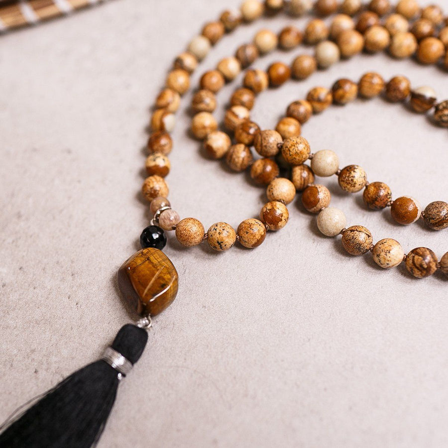 Picture Jasper, Black Onyx and Tiger Eye beads Gemstone Mala, Manipura - Handmade in Amsterdam