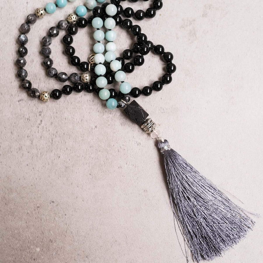 Black Lava, Amazonite and Labradorite Gemstone  Mala, Manipura - Handmade in Amsterdam