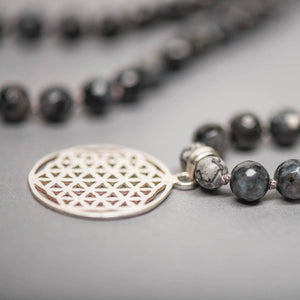 Silver Flower of Life Man Gemstone Mala with Labradorite and Amazonite, Manipura - Handmade in Ams