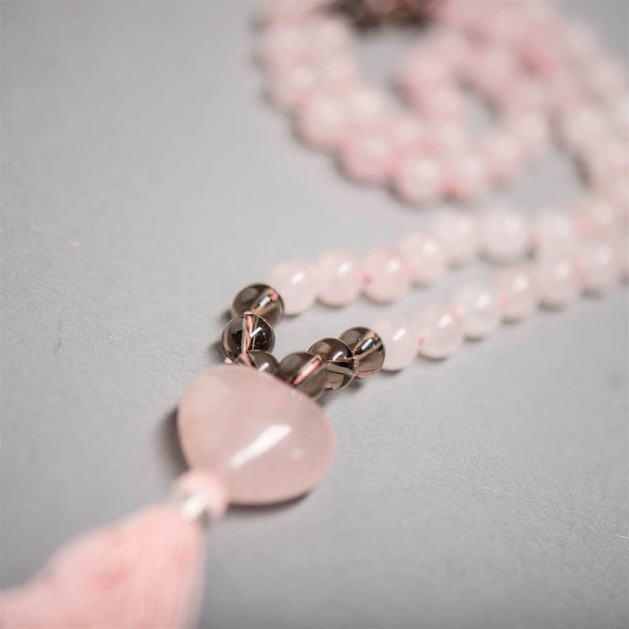 Kids Gemstone Mala with Rose and Smokey Quartz, Manipura - Handmade in Amsterdam