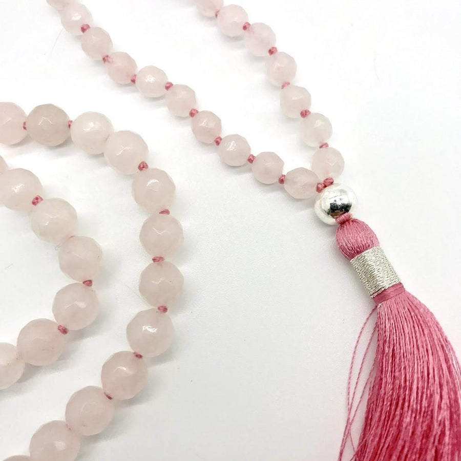 Rose Quartz love Gemstone Mala, Manipura - Handmade in Amsterdam