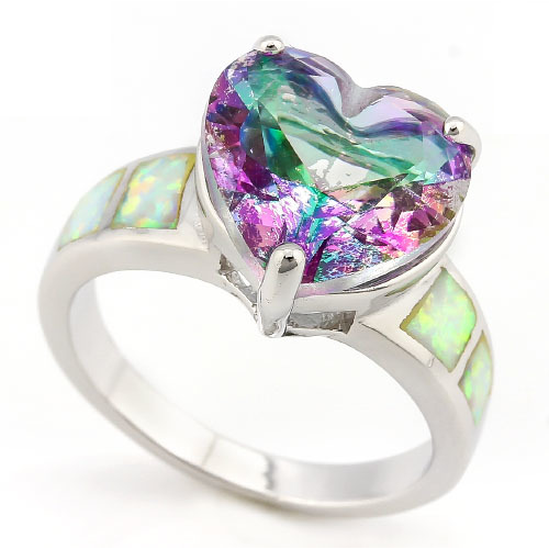 5.10ctw Genuine Mystic Gemstone & White Lab Opal, Solid .925 Sterling Silver Ring -  New Fashion Finds By Carole