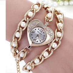 New Stylish Heart-shaped Crystal Dial Watch,Long Chain Bead Women's Quartz Watches -  New Fashion Finds By Carole