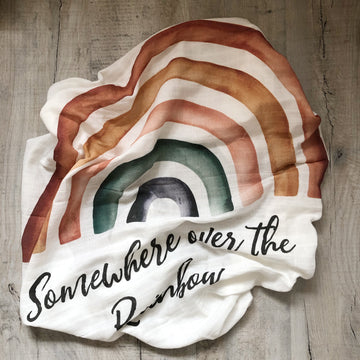 Somewhere over the Rainbow Organic swaddle blanket